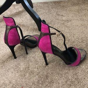 Pink Suede Heeled Sandals